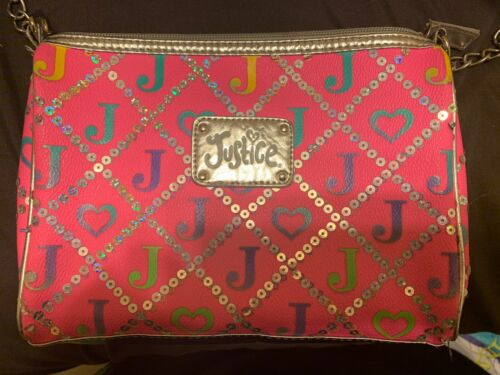 """JUSTICE Pink """"J"""" Initial Silver Sequin Zip Top Purse Crossbody ~ Teen Tween Girl"""
