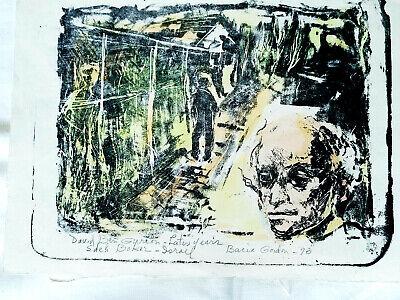 Bacia Gordon Mid-Century Modernist Israeli Original Watercolor DAVID BEN GURION  comprar usado  Enviando para Brazil