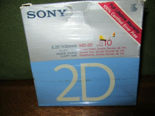 "New Sony MD-2D 5.25"" Floppy Disks-10+2 Extra (12 Disks Total) New Opened Box"