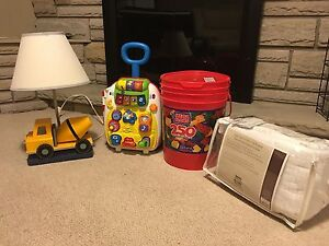 Toys, lamp, crib bumpers
