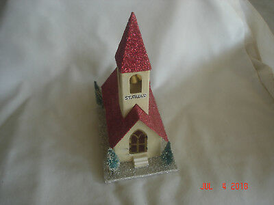 Vtg  Mica Covered Putz Church W  Bell Tower   Bottle Brush Trees Japan
