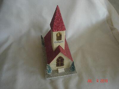 Vtg. MICA COVERED PUTZ CHURCH w/ BELL TOWER & Bottle Brush Trees JAPAN