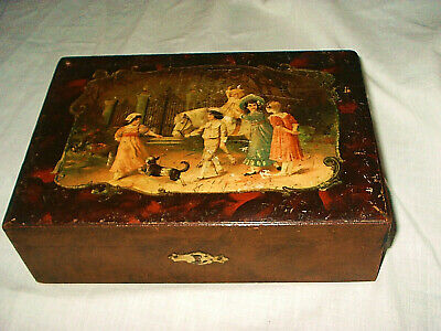 LATE 19TH CENTURY PAINTED WOOD BOX WITH FIGURAL VIGNETTE OF CHILDREN