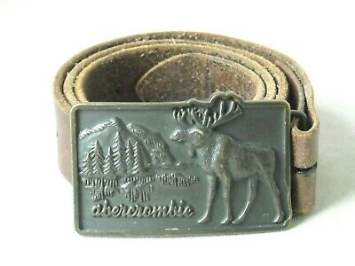 Vintage ABERCROMBIE & FITCH Brass Moose Belt Buckle & Leather Belt - L/XL