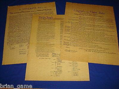 Declaration Of Indepedence  Constitution  Bill Of Rights  Poster 23 X 29 Repro