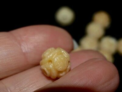 One Vintage Antique Carved Chinese Bead Yellow Jade Round Shou Design 10mm
