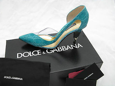 NEW Dolce & Gabbana Genuine Alligator Shoes (Heels)!  US 9.5 e 39.5  *AQUA*
