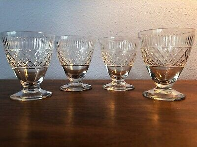 Beautiful Set of Four Vintage Cut Crystal Port Sherry Short Stemmed Glasses Crystal Glass Sherry Glass