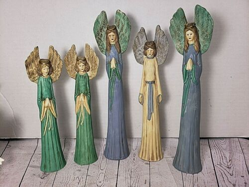 "Vintage 5 Tall Thin Porcelain Bisque Praying Angels Figurine 8.5""~10.5"" Tall"