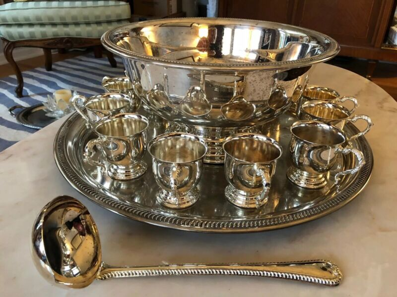 15 Piece Silver-plated Unmarked Punch Set
