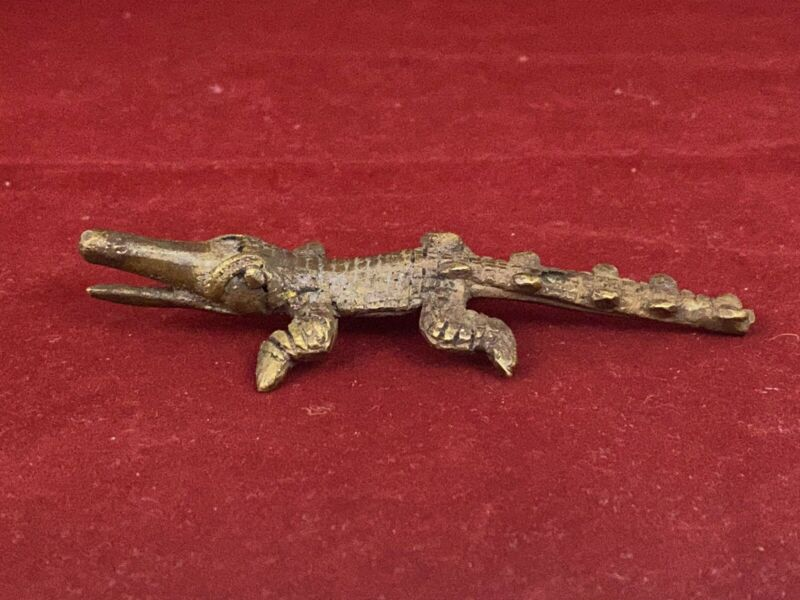 Authentic African Bronze CROCODILE Gold Weight Statue - Ivory Coast Akan Tribe