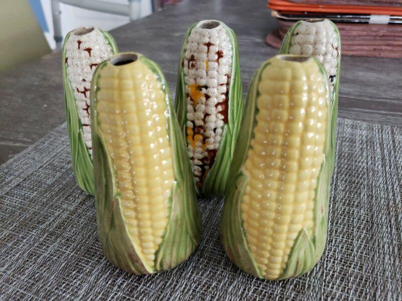 Vintage Ceramic Maize Corn on Cob Macrame Beads Lot of 5 NOS Large