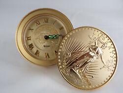 VINTAGE BULOVA TRAVEL DESK ALARM CLOCK GOLD $20 COINS LADY LIBERTY 1907 EUC
