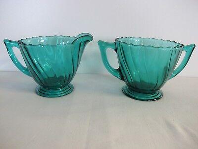1930 Depression Glass Jeannette Swirl Ultramarine Blue Green Creamer Sugar Bowl