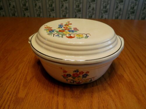 Vtg Paden City Pottery Co.(P.C.P. Co) Oven Proof BAK-SERV Baking Dish Bowl w/Lid