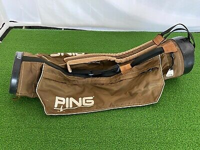 USED Vintage/Classic PING GOLF SUNDAY BAG BROWN Lightweight Single Strap 80s