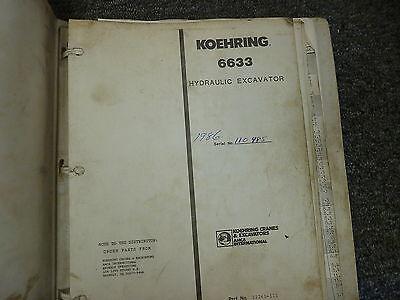 Koehring Model 6633 Hydraulic Crawler Mounted Excavator Parts Catalog Manual