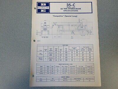 Rare Bucyrus-erie 35-c Crane Excavator Spec Information 1970