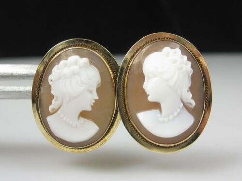Antique Cameo Earrings 14K Yellow Gold Vintage Estate Victorian Shell Pierced