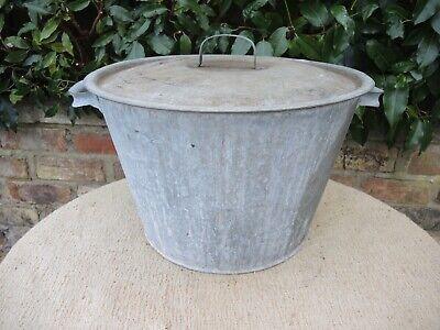 Vintage Galvanised Tin Bath with Lid Drinks Cooler  Garden Planter 41 cm  (326)