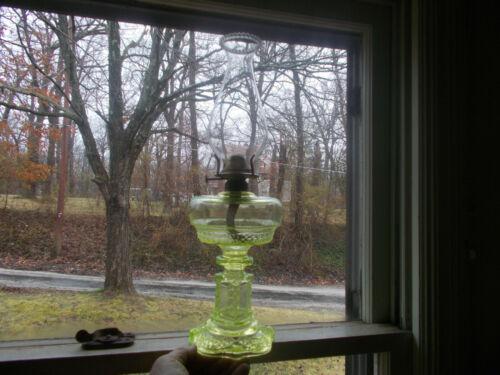 1880s ORIGINAL CANARY VASELINE GLASS AQUARIUS FANCY OIL LAMP COMPLETE RARE!