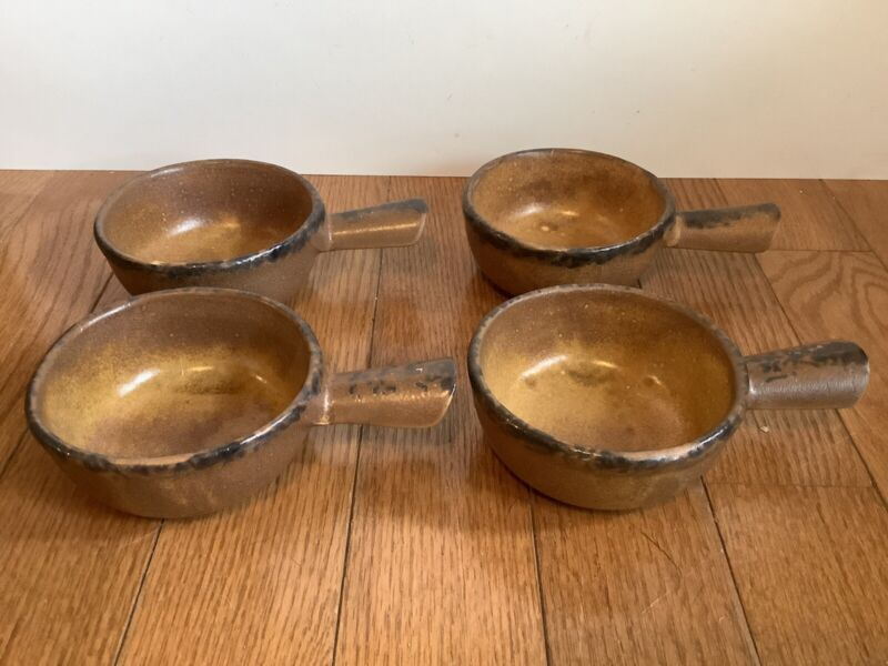 4 McCOY POTTERY STONE RUST DRIP CHILI SOUP HANDLED BOWLS #7050