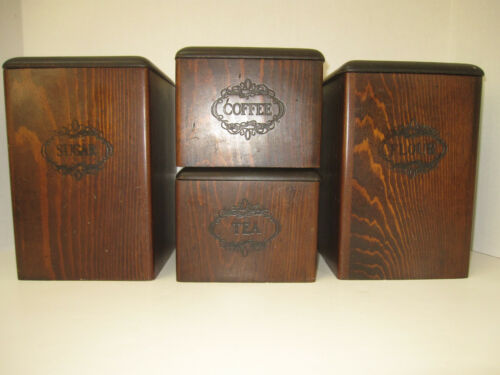 Vintage 4pc Three Mountaineers Wood Canister Set RARE
