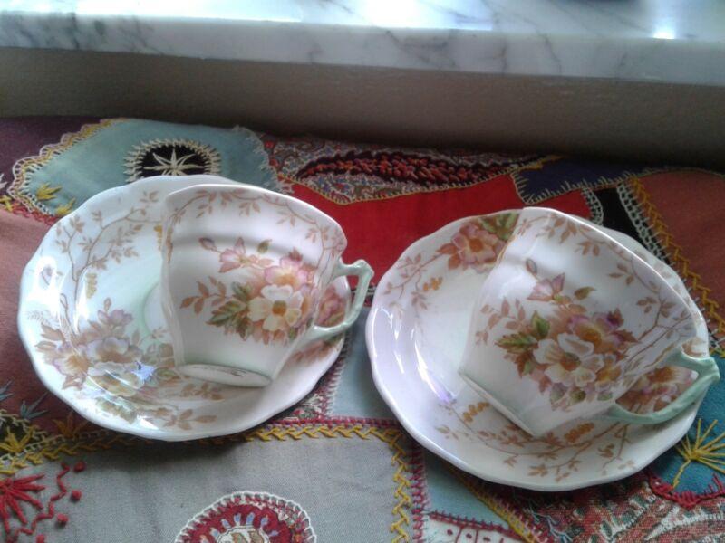 Sampson Smith Old Royal Bone China Floral Demitasse Cup & Saucer ~ EUC ~ 2 sets
