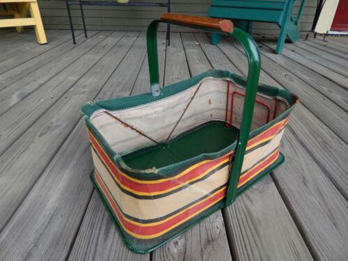 vintage STRIPED CANVAS & METAL Folding MARKET Shopping BASKET Bag Mid-Century