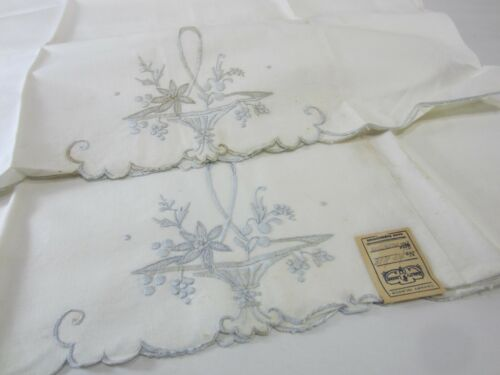 Vintage Canary Island Quality Linen Embroidered Pillowcases w/Tags