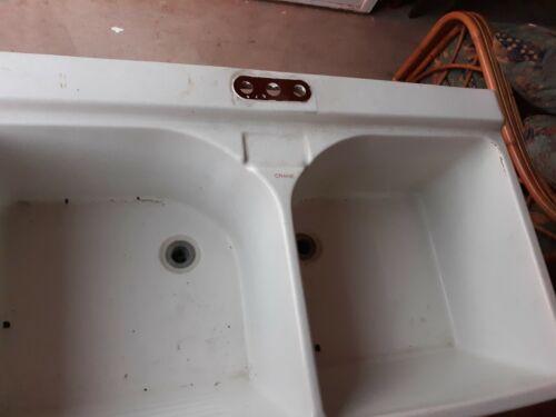 Vintage Crane Porcelain Double Bowl / Basin Kitchen / Laundry Utility Sink Tub