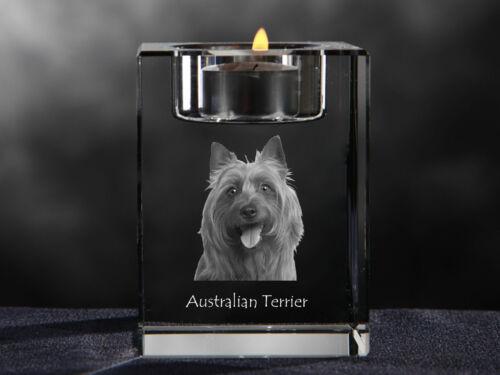 Australian Terrier, crystal candlestick with dog, souvenir, Crystal Animals CA