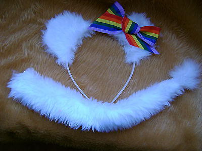 White Lion Cub Ears & Tail With Rainbow Bow Fancy Dress Animal Costume Hen Night