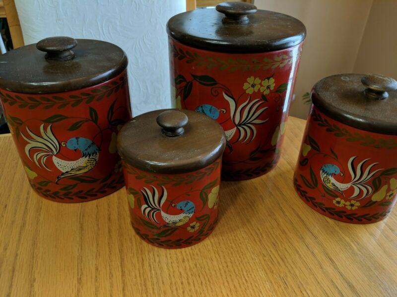 Vintage Ransburg Red 4-Piece Canister Set w/ Hand-painted Roosters Wood Lids USA