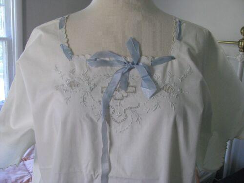 1800s ANTIQUE NIGHTGOWN DRESS-EMBROIDERIES~WHITE COTTON~SILK RIBBON UNUSED ~XL