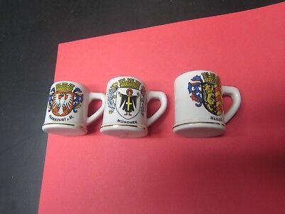 Vintage Set of 3 German Mini Beer Stein Shot Mugs for Collection