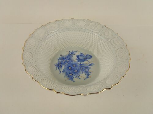 "Romania Porcelain 8"" Hand Painted Blue Flowers Lace Reticulated Bowl - Signed"