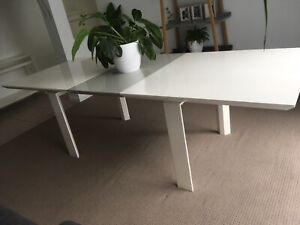 White grey ice extendable large dining table