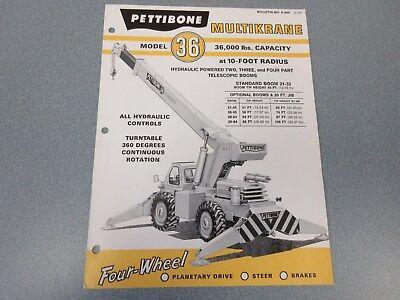 Rare Pettibone 36 Multikrane Sales Brochure