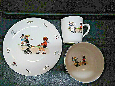PIER 1 IMPORTS CHILD'S SET PLATE BOWL MUG CUP GERMANY VTG LOOK DOG SPORTS SLEDNG