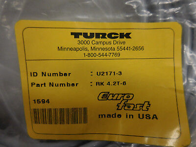 Turck Rk 4.2t-6 Eurofast 2-wire 4-pin Straight Female Connector 6 Meter Cordset
