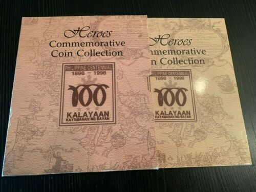 PHILIPPINES 1898-1998 HEROES COMMEMORATIVE COIN COLLECTION, 10 COINS IN FOLDER