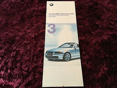 BMW 3 Series Convertible Price List & Specs Booklet 2000 - May 2000 Bmw 3 Series Convertible Price