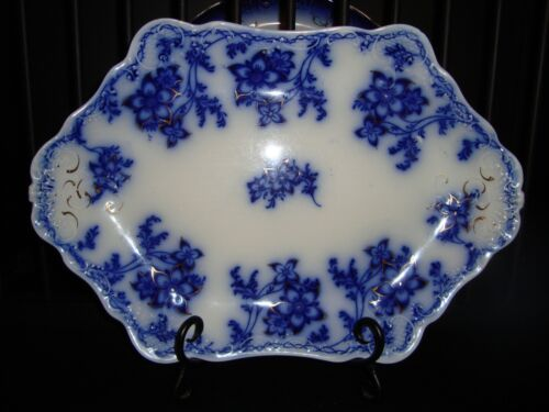 "Antique Johnson Bros. CLAREMONT Dark Flow Blue 16"" Oval Serving Platter"