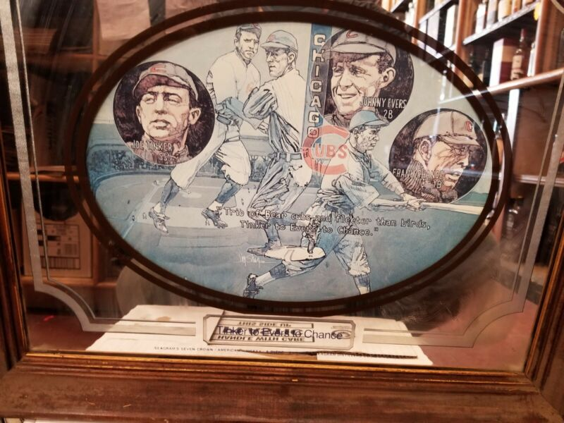 SEAGRAMS SEVEN CROWN SPORTS COLLECTION WOOD FRAMED MIRROR tinkers - Evers-chance