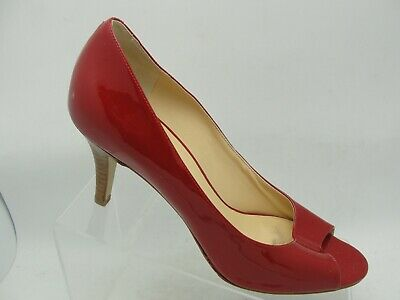 Cole Haan RED PATENT LEATHER Peep Toe High Heel Classic Slip On Pumps Size 10B Red Patent Peep Toe Pumps