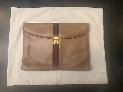 Gucci vintage leather attache portfolio briefcase - Classic green red stripe