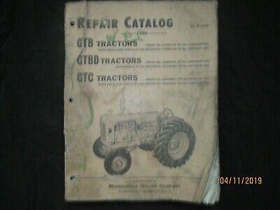 Minneapolis - Moline Gtb Gtbd Gtc Tractors Repair Parts Catalog Manual Original
