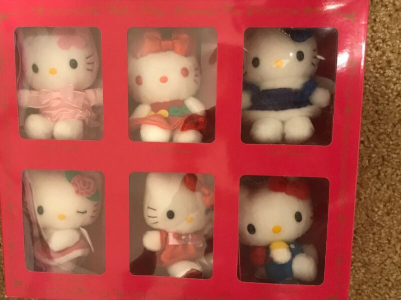 Hello Kitty Memorial Box Plush Toy Charm Set of 6 NTT Original 35th Anniversary