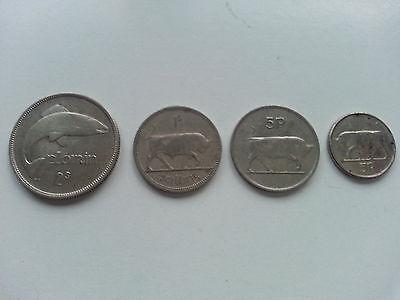 Irland  4 Münzen- Scilling / Florin / Pence 1934-76